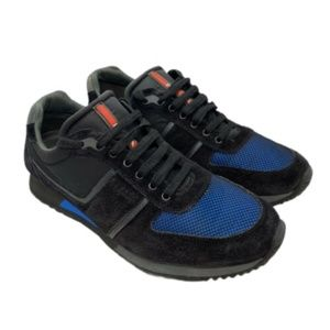 PRADA MEN'S SNEAKERS BLACK AND BLUE SUEDE SIZE 10
